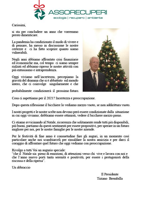 Per Fare Gli Auguri Di Natale.Lettera Del Presidente Auguri Di Buon Natale Assorecuperi